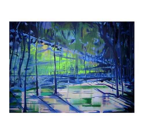 Winter trees – dark blue