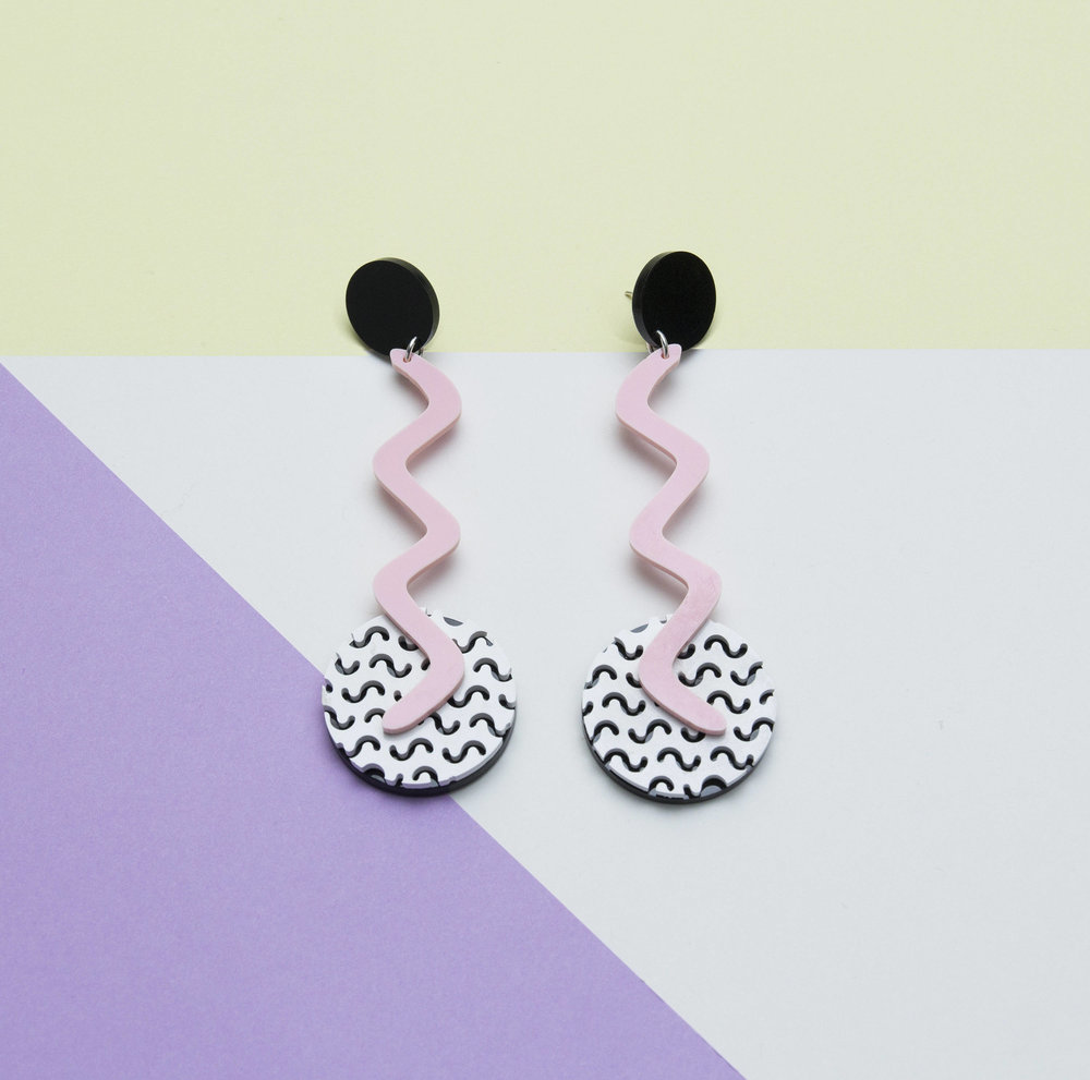 Wiggle it - We're loving these 80's Memphis style wiggle earrings, made by local jeweller-maker Animal Hair.