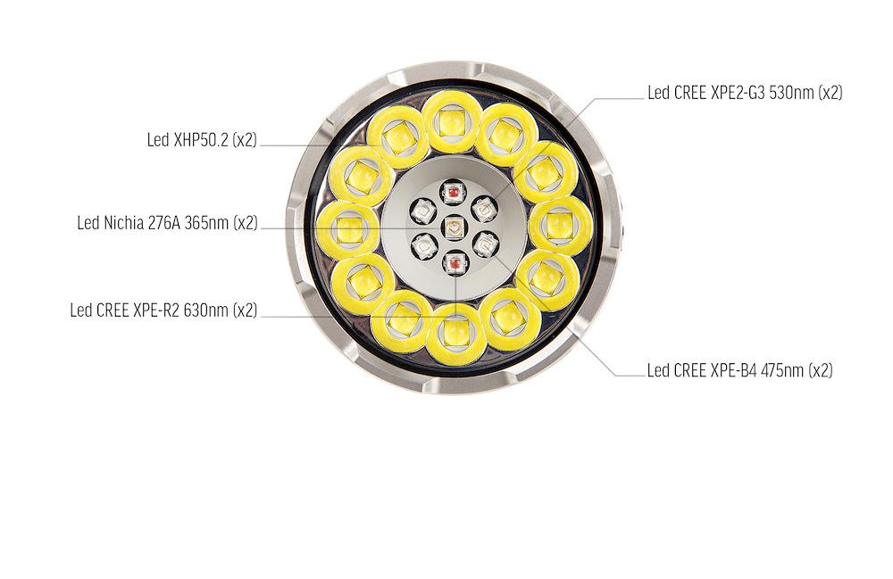 19 Leds - L'Acebeam X80 est équipée de 12 Leds CREE XHP50.2 et de 7 Leds spécifiques pour produire de la lumière rouge, bleue, verte ou ultraviolette, une particularité unique !
