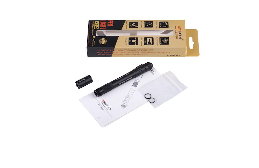 Contenu de l'emballage - Lampe PT10 PenlightClipMode d'emploi2 joints toriques de rechange