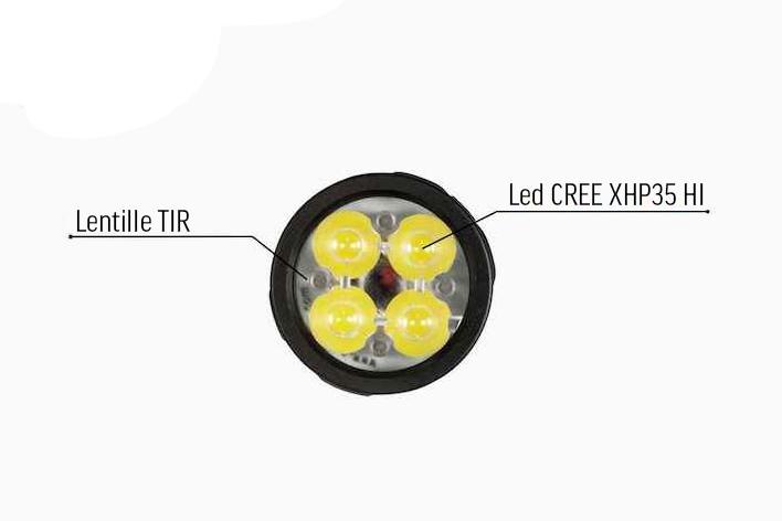 4 Leds CREE XHP35 - L'Acebeam EC65 est équipée de 4 émetteurs CREE XHP35 pouvant produire un incroyable niveau de 4 000 lumens dans le creux de la main !