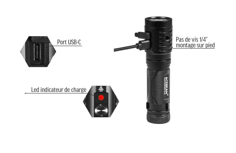 Port de charge USB-C - Port de charge USB-C charge rapideVoyant indicateur de chargeFiletage 1/4'' pour motage sur trépied (type photo)