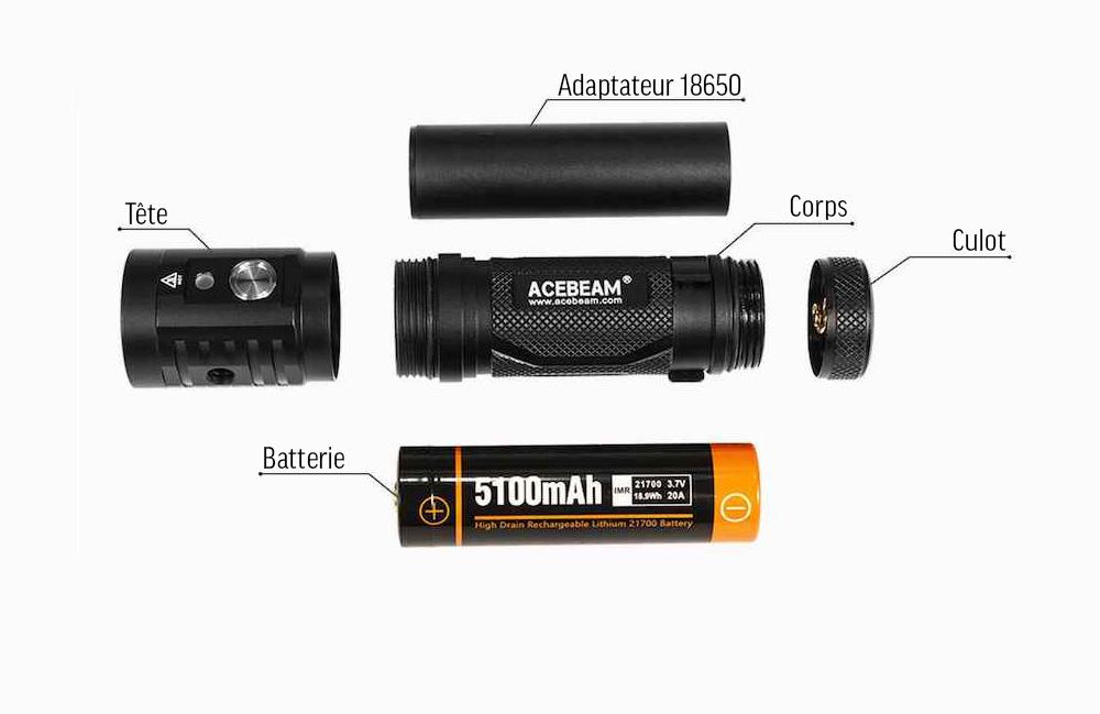 Conception intelligente - L'Acebeam EC65 est intelligemment conçue. Un corps en 3 parties et une batterie Acebeam 21700 de 5 100mAh.Plus un adaptateur dans le cas d'utilisation d'une batterie de type 18650