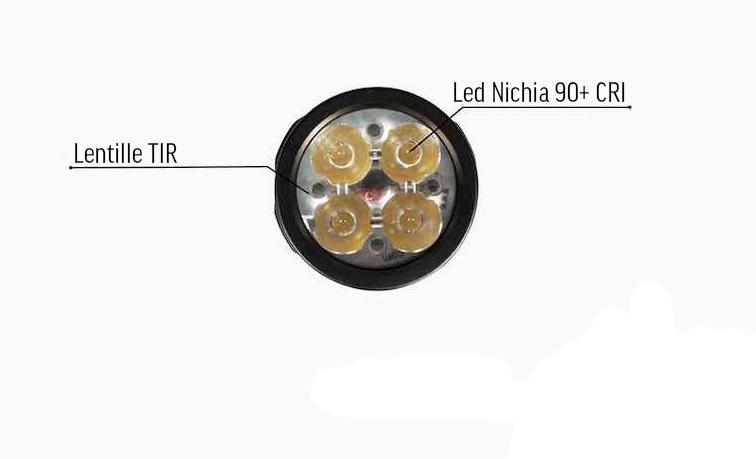 4 Leds Nichia 219C CRI 90+ - L'Acebeam EC65 Nichia est équipée de 4 émetteurs 219C CRI90+ pouvant produire un niveau max de 2 500 lumens
