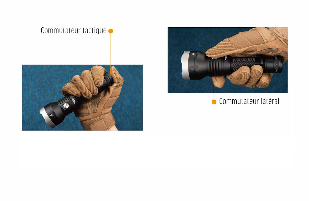 Tactique - En bon outil tactique, la L30 Gen II propose deux commutateurs :1 tactique à l'arrière pour un accès instantané au mode Turbo1 latéral pour accéder à tous les modes