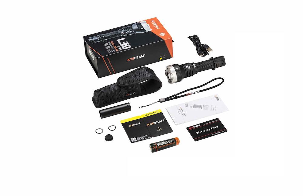 Contenu de l'emballage - Lampe L30 Gen IIClip amovibleBatterie Acebeam 21700 5 100 mAhCâble Micro-USBAdaptateur batterie 18650Étui de transportMode d'emploi et carte de garantie2 joints toriques de rechange