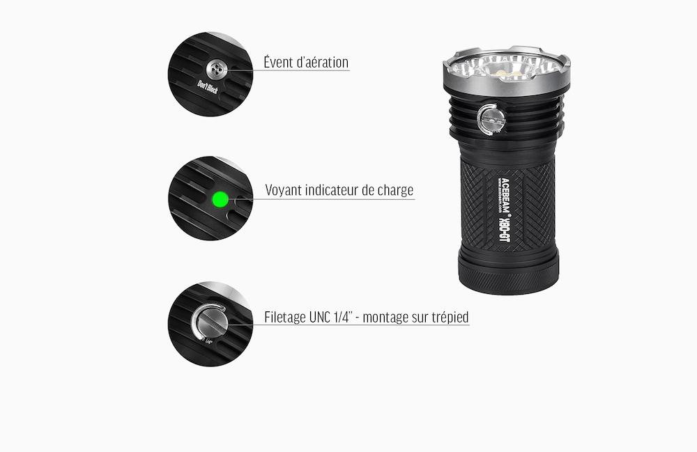 Voyant de charge - La lampe X80GT est équipée d'un indicateur de charge, d'un évent d'aération et d'un filetage UNC 1/4''