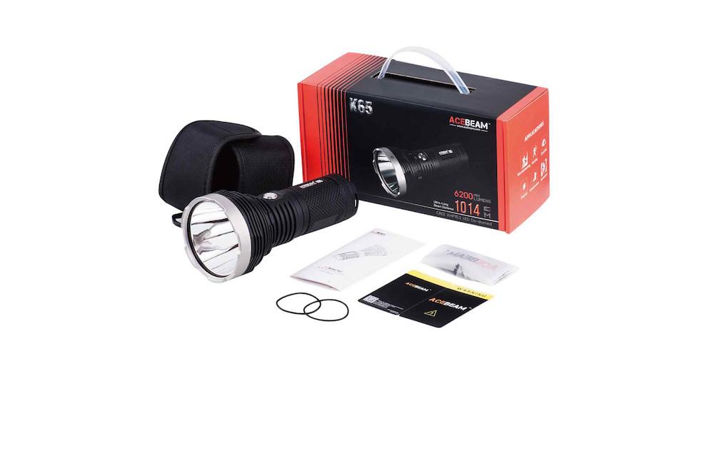 Contenu de l'emballage - Lampe K65Étui de transportDragonneManuel d'utilisation et carte de garantieJoints toriques de rechange