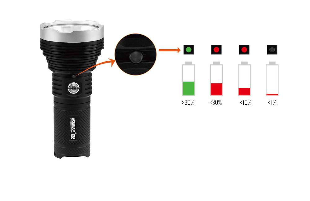 Indicateur de charge intelligent - La K65 possède un indicateur de charge intelligentIl clignote rouge dès que la charge est inférieure à 10%