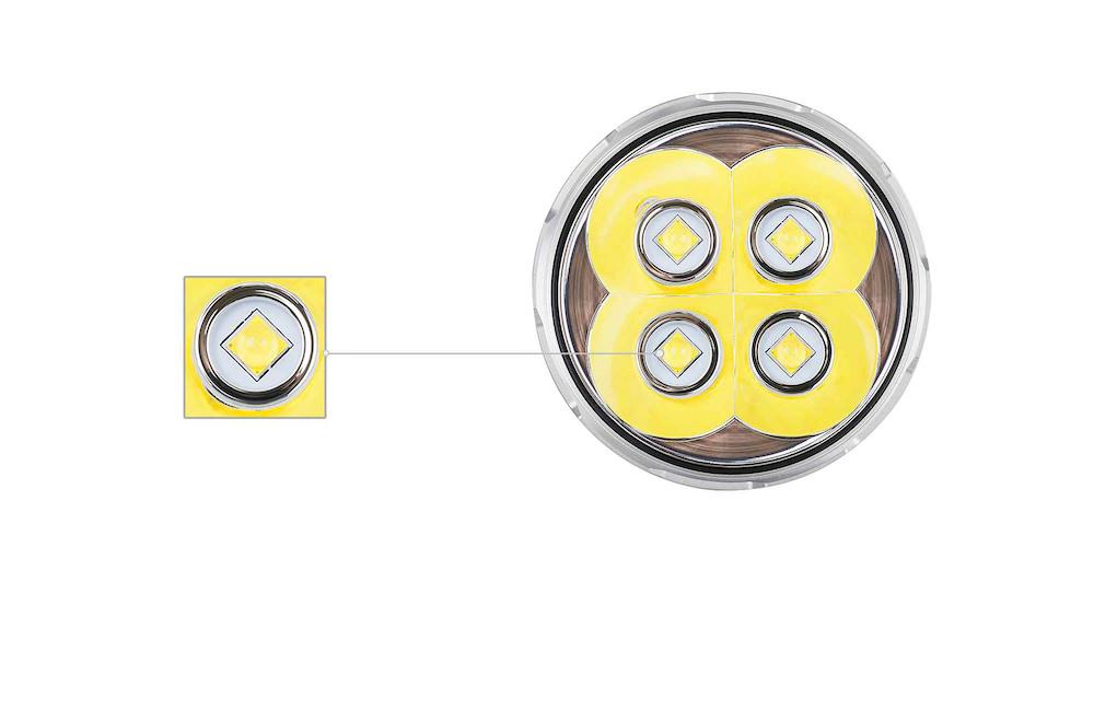 Leds CREE XHP70.2 - Équipement exceptionnel pour performances exceptionnelles, la X45 embarque 4 émetteurs CREE XHP70.2Son faisceau lumineux émet jusqu'à 16 500 sur une portée pouvant aller à 583 mètres