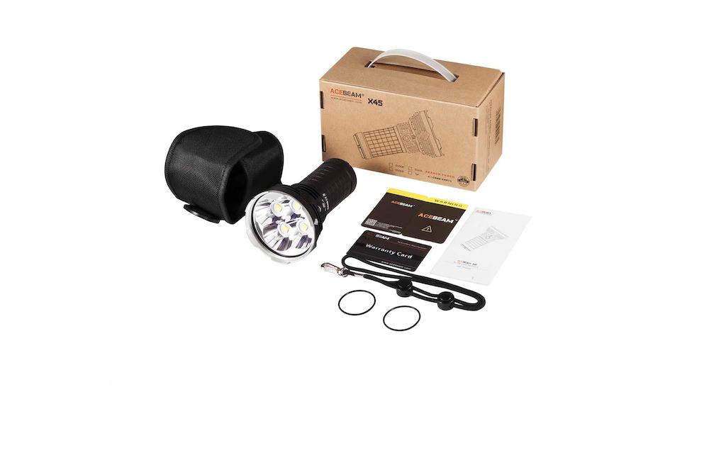 Contenu de l'emballage - Lampe X45Housse de transport et dragonneManuel d'utilisationCarte de garantieJoints toriques de rechange