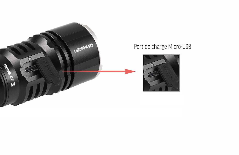 Micro USB - La lampe L16 intègre un port de charge Micro USBLa cable de charge est fourniUn voyant indique le niveau de charge