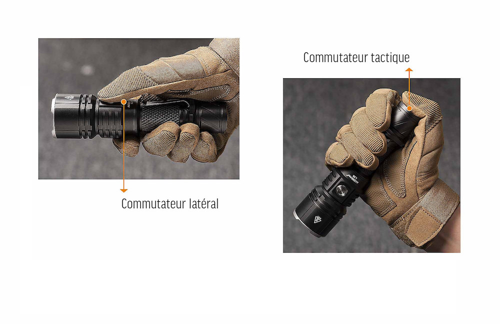 Tactique - La L16 est équipée de deux commutateurs tactiquesUn latéral pour accéder à tous les modes de fonctionnementUn de queue pour accéder rapidement au mode Turbo et fonctionnement momentatné