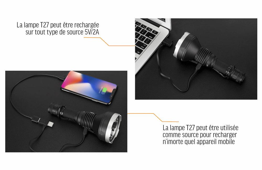 Batterie externe - Grâce à son port USB-C, la lampe tactique T27 peut même servir de batterie externe !