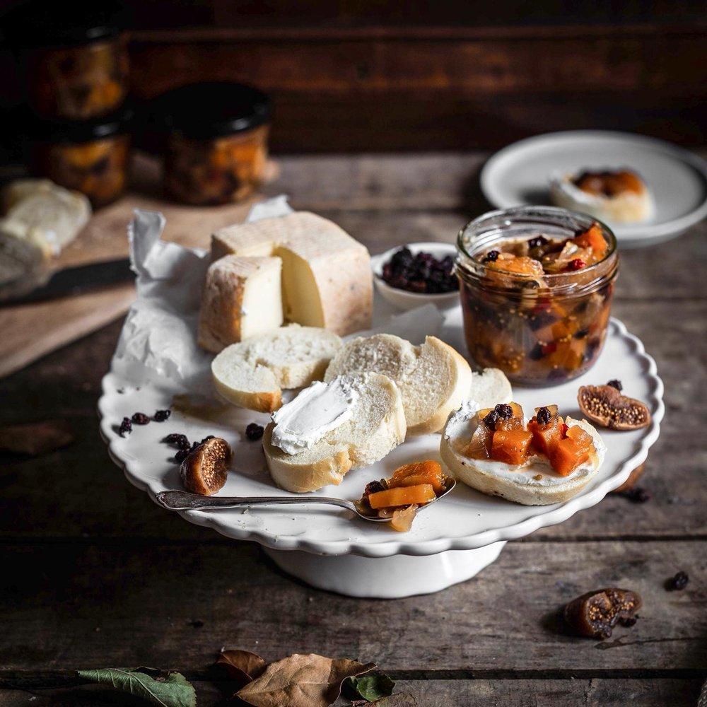 Käse Apfel Kürbis Chutney Foodstyling