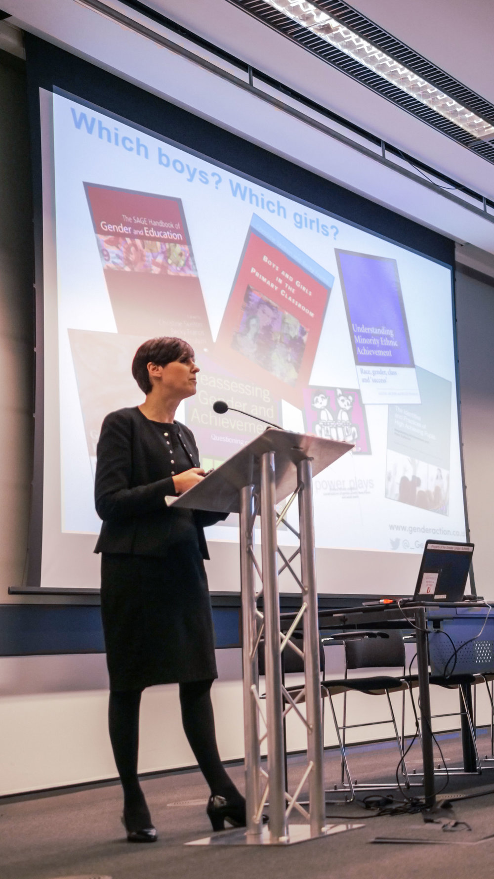 Professor Becky Francis, Director of UCL Institute of Education, speaking about her research as keynote speaker