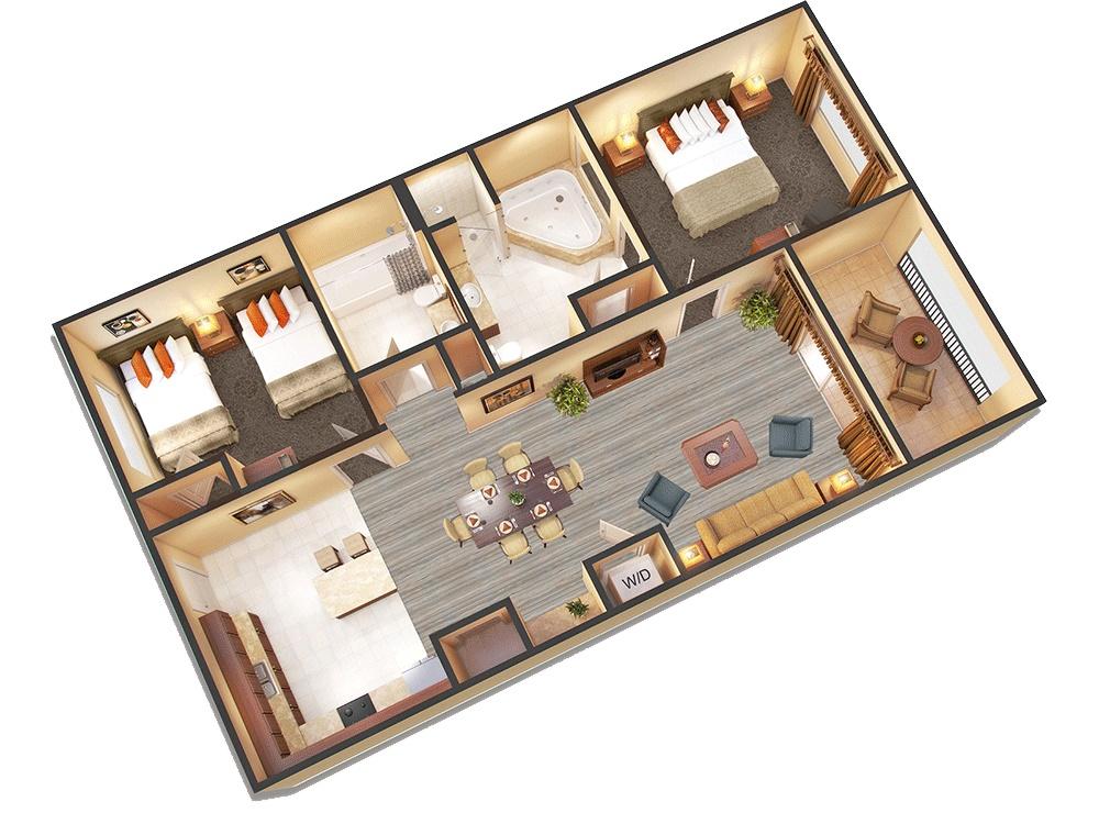 Floridays Resort - På Floridays är lägenheterna rymliga. På bilden ser man en tvårumslägenhet. Vi erbjuder även trerummare som har ytterligare två sängar. Vardagsrum och sovrum har tv.