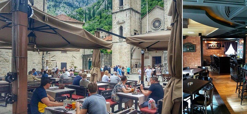 Lunch - Lunch på The Square Pub i centrala Kotor. Nära till startpunkten för vandring/hike. Härlig omgivning där gruppen sitter utomhus och äter lunch (vid fint väder).