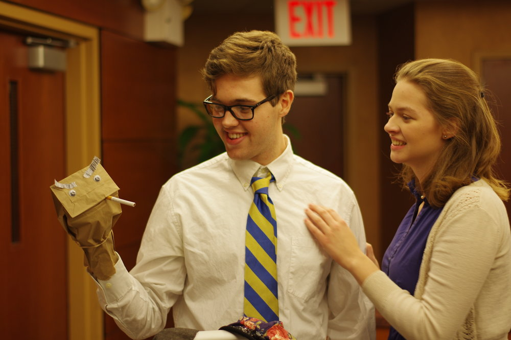 """(L to R) Nick Spink and Emily Conlon in """"Mom, I Want to Be a Chemist"""" by Ryan Cook, Derek Crosby, and Jack McManus."""