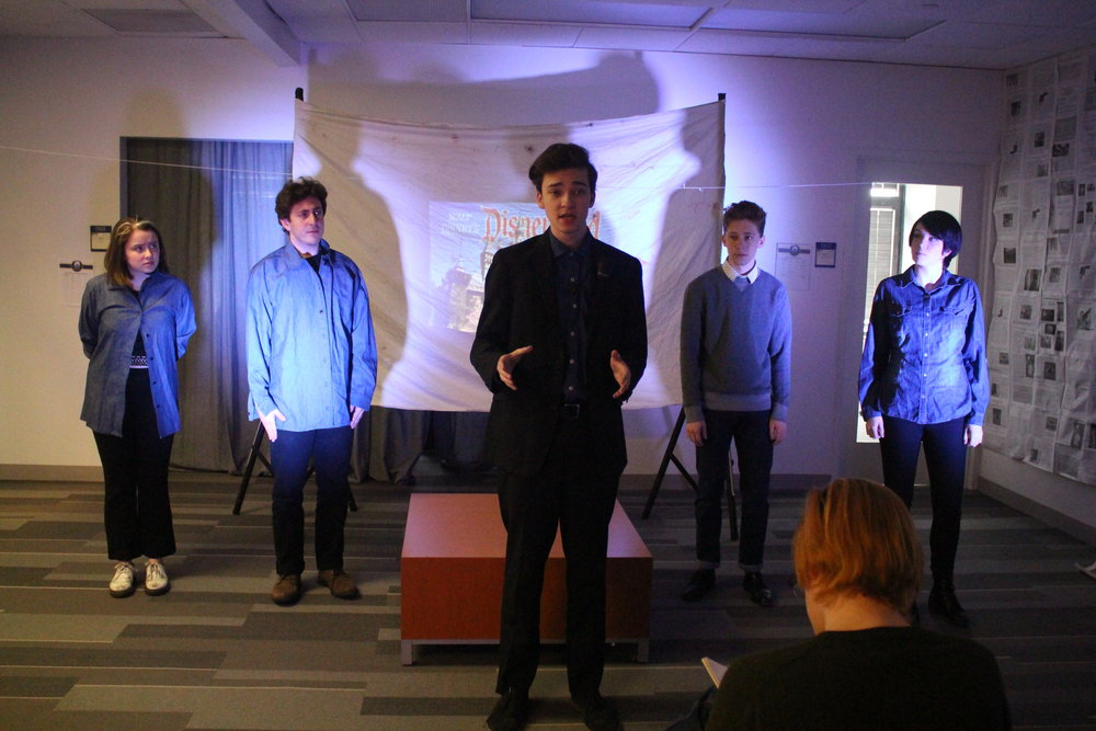 """(L to R) Sarah Olberg, Sam Korobkin, Taylor Larson, Austin Yoder, and Cheyenne Anderson in """"The Untold Yippie Project"""" by Becca Schlossberg."""