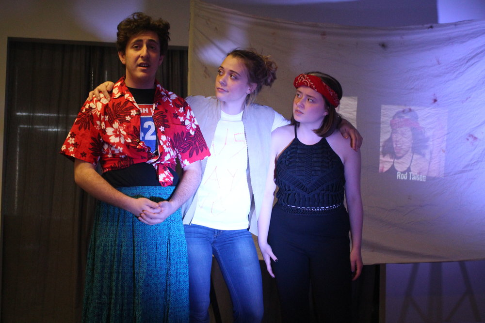 """(L to R) Sam Korobkin, Ona Martini, and Sarah Olberg in """"The Untold Yippie Project"""" by Becca Schlossberg."""