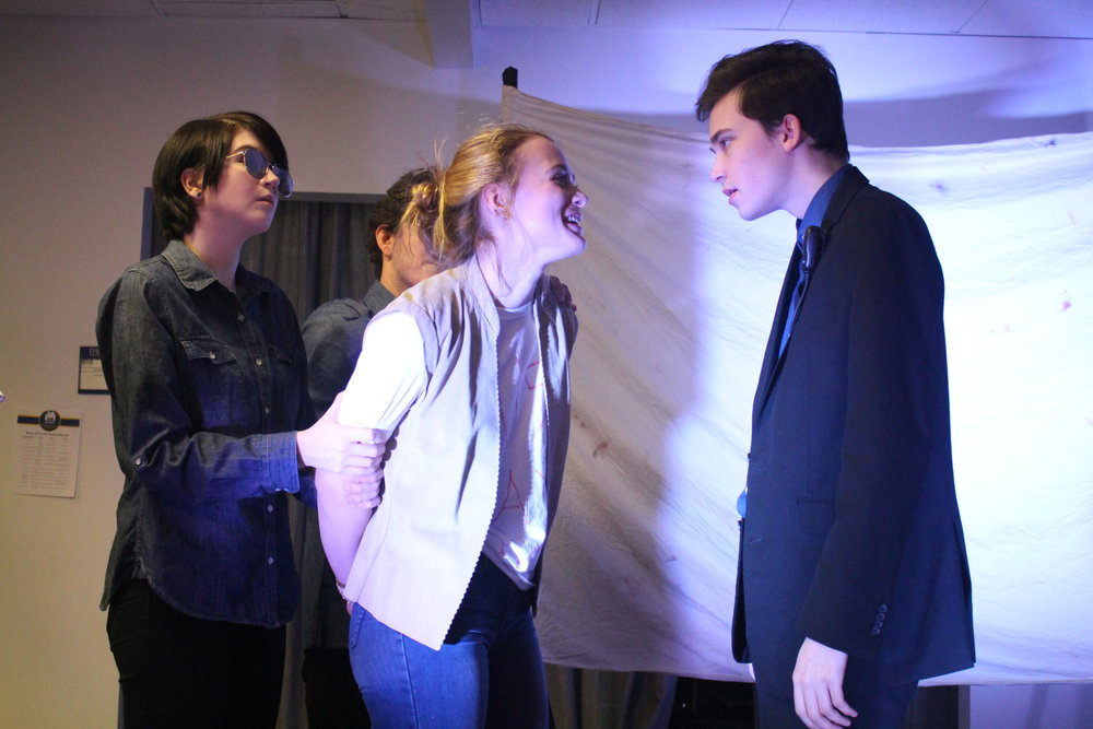 """(L to R) Cheyenne Anderson, Sam Korobkin, Ona Martini, and Taylor Larson in """"The Untold Yippie Project"""" by Becca Schlossberg."""