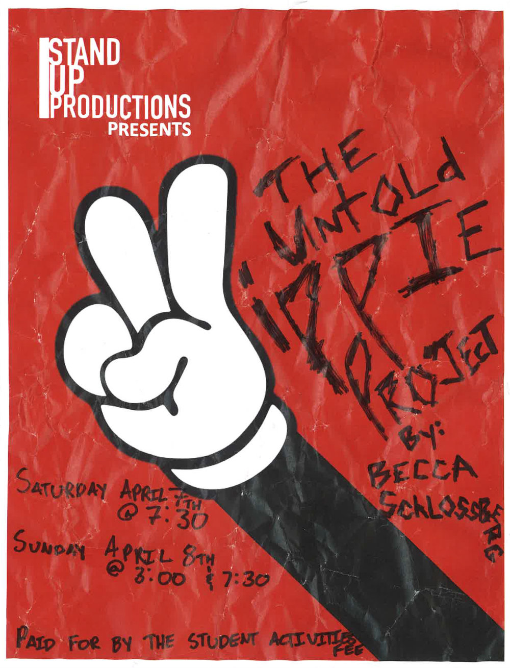 """Poster for """"The Untold Yippie Project"""" by Becca Schlossberg. Design by Melissa Ingle."""