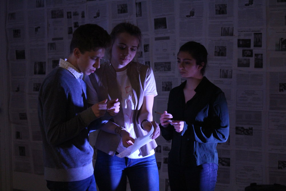 """(L to R) Austin Yoder, Ona Martini, and Sydney Rutigliano in """"The Untold Yippie Project"""" by Becca Schlossberg."""
