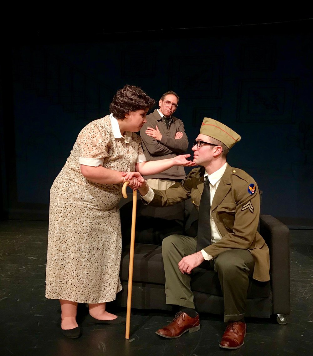 "(L to R) Michelle Caniglia, Jeff Bodnar, and Alex Temple Ward in ""Sparky."""