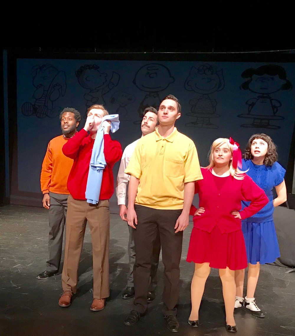 "(L to R) Cordara Newson, Kyle McClellan, Matthew Tiberi, Robby Haltiwanger, Jillian Mauro, and April Lavalle in ""Sparky."""