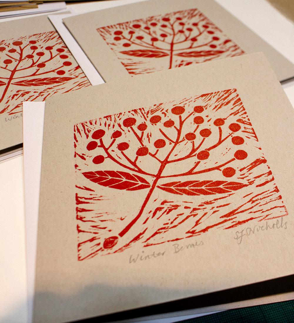 Card designs -  linoprint