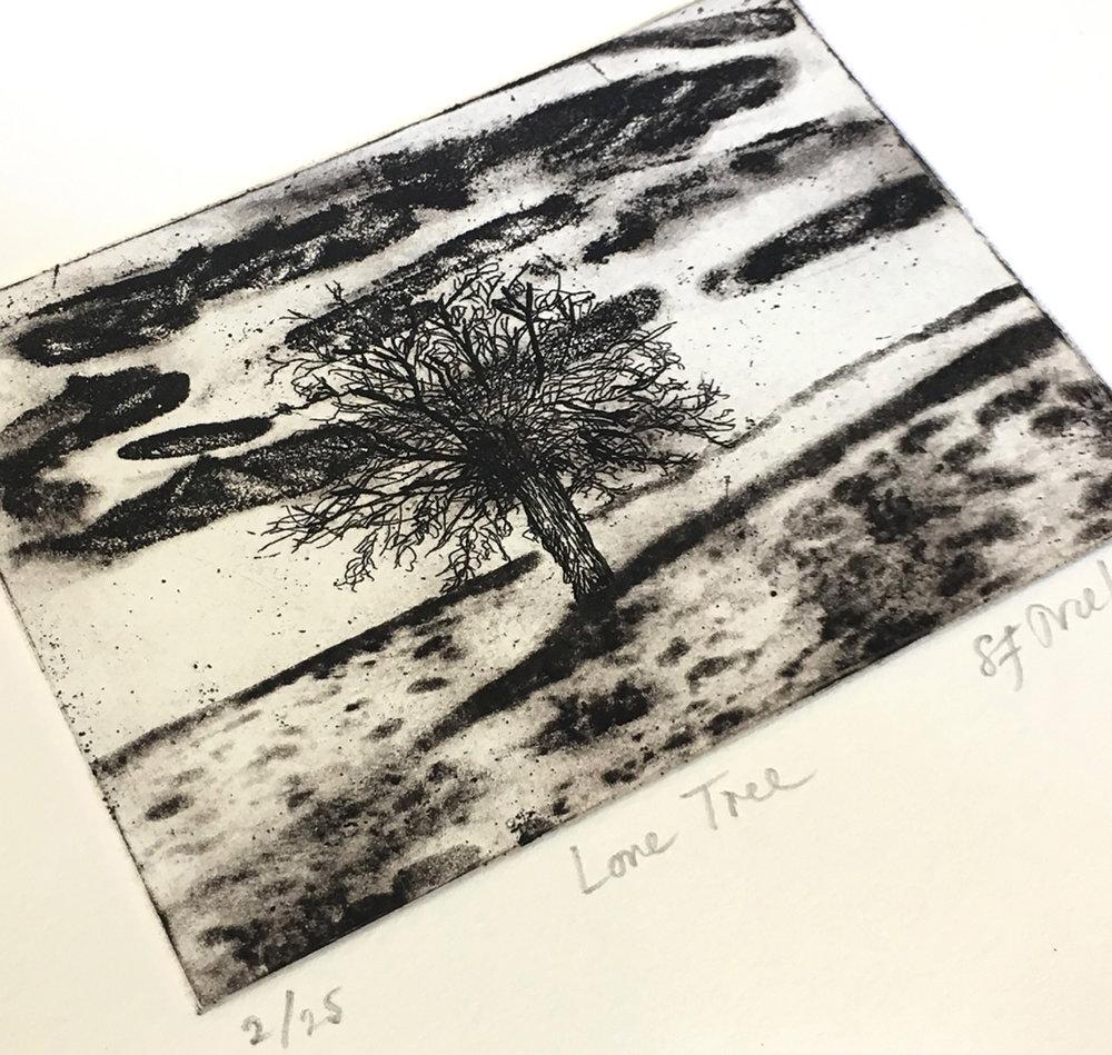 Lone Tree -  aquatint/drypoint