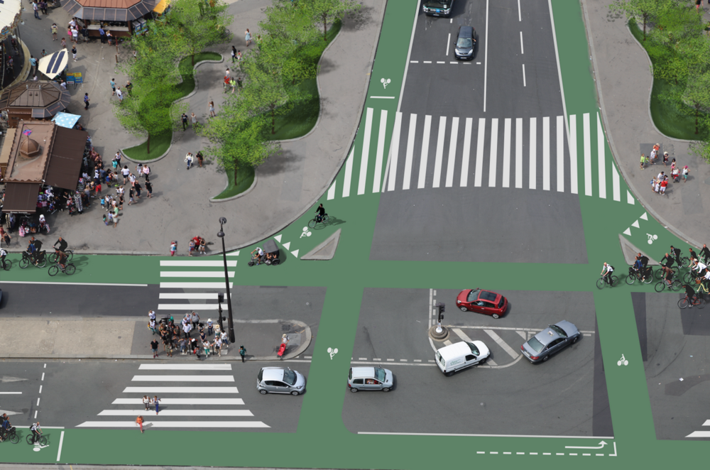 Visual Stimulation - We can talk for ages about change but showing what it will look like changes the conversation. Mikael transformed this iconic intersection in Paris in Photoshop with Best Practice design and helped change the conversation in the French capital about what direction it should take in further developing its bicycle network.Status: Visualisation/activism