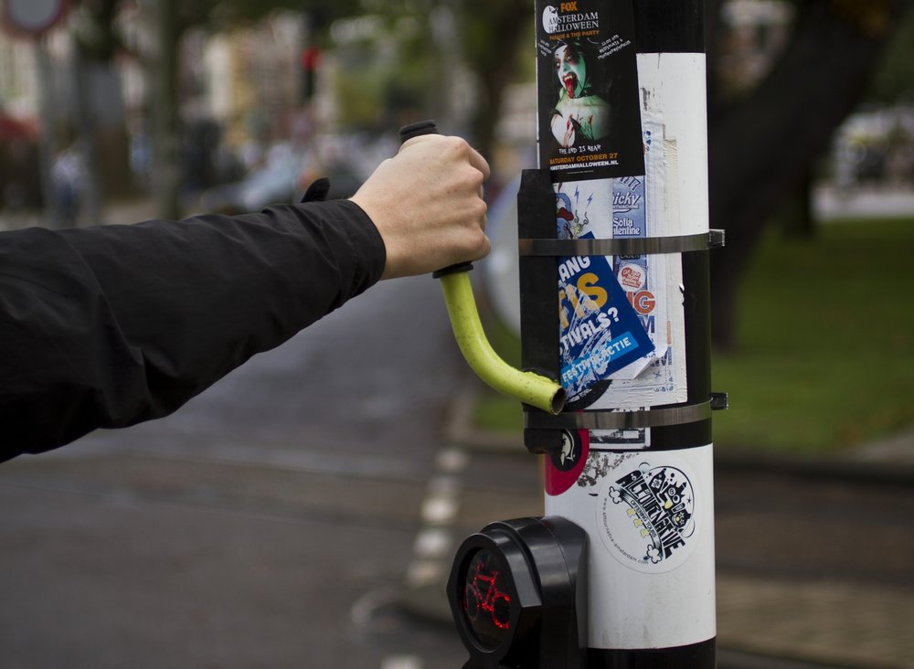 The Love Handle - Cycling citizens lean up against their city whenever they can. To accommodate this inherent behaviour, Mikael designed this handle for them to hold on to. He tested it in Copenhagen at six locations and monitored the use. He even put one up in Amsterdam, where it stayed in place for two years. See a film about it here.Status: Concept