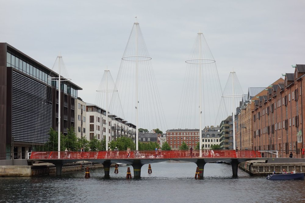 Olafur Eliasson's Cirkelbroen, inspired by a harbour full of sail boats.