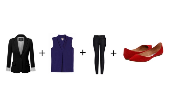black blazer + sleeveless shell + dark denim + red shoes