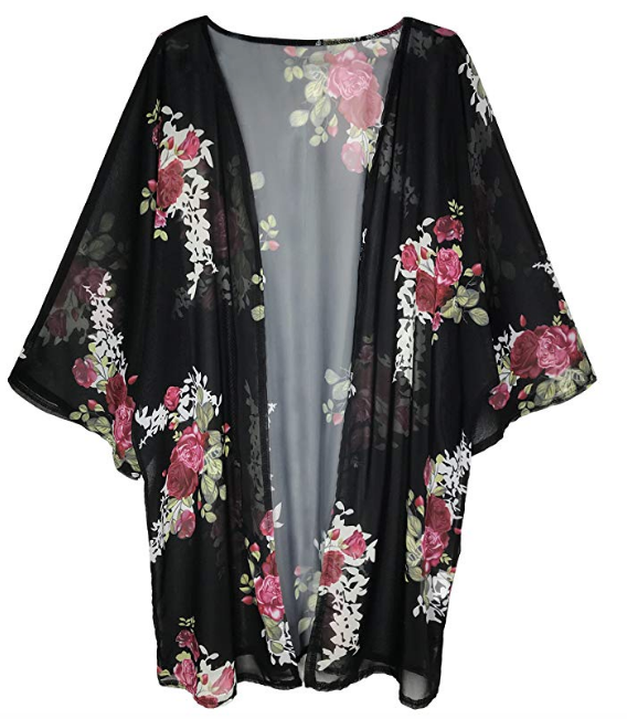Floral Kimono Wrap - This is an effortless way to update and upgrade your swim cover up. I will admit, it took me a while to ditch my over-worn knit dress. This year I bought this one from Amazon and it's a winner!p.s. I am NOT an Amazon affiliate.