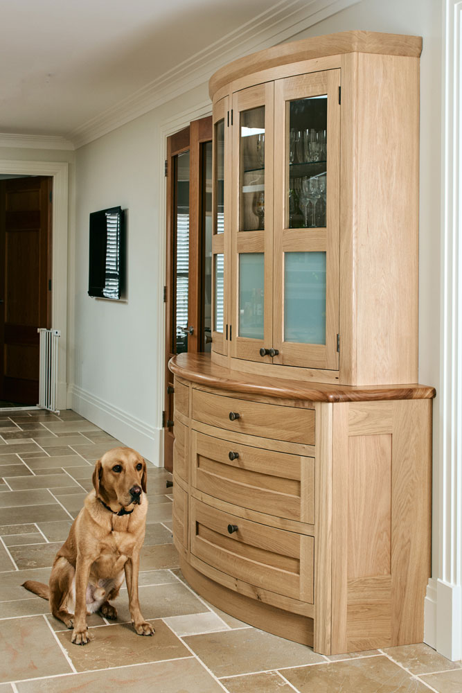 Figura Bespoke Kitchen Design - Curved Dresser with Elm surface....and Rolo the dog!