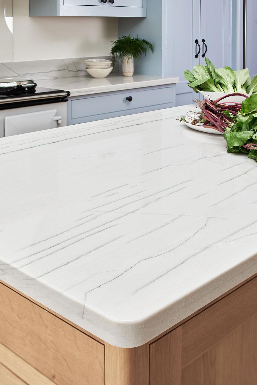 Figura bespoke kitchen design with Quartzite island...and rhubarb!