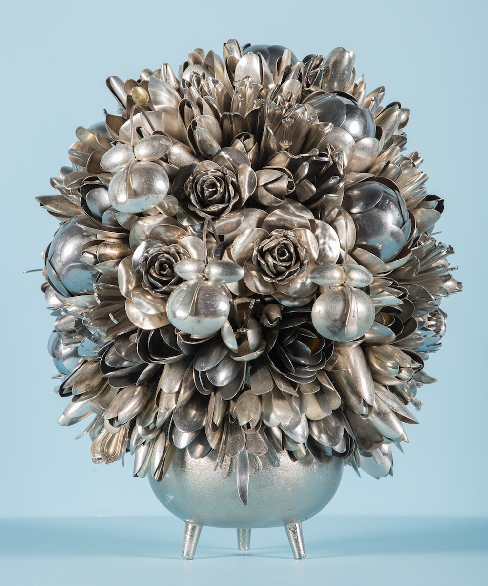 Ann Carrington: Devil's Trumpet, Mixed media including steel, nickel and silver plated spoons