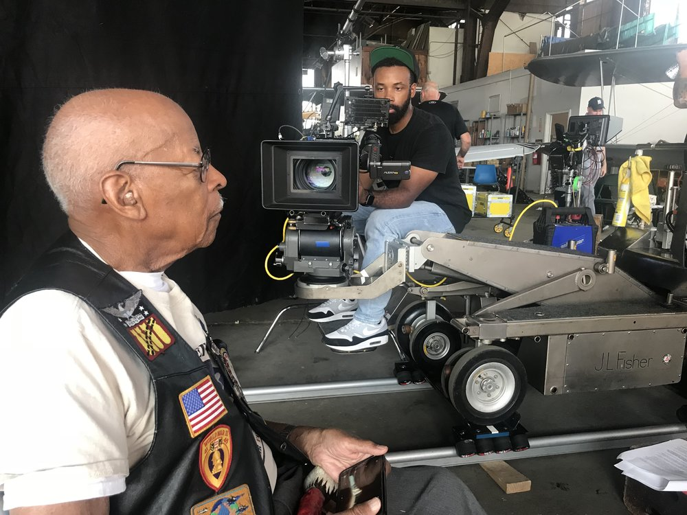 Shooting an interview with Tuskegee Airman Lt. Col. Alexander Jefferson.