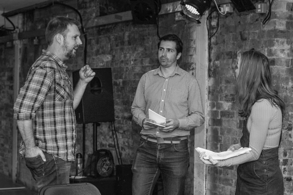 Simon in rehearsals with Peter Halpin and Laura Patch.