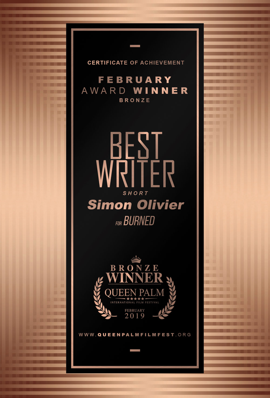 QPIFF BRONZE AWARD CERTIFICATE- BEST WRITER - SHORT -  SIDE B.jpg