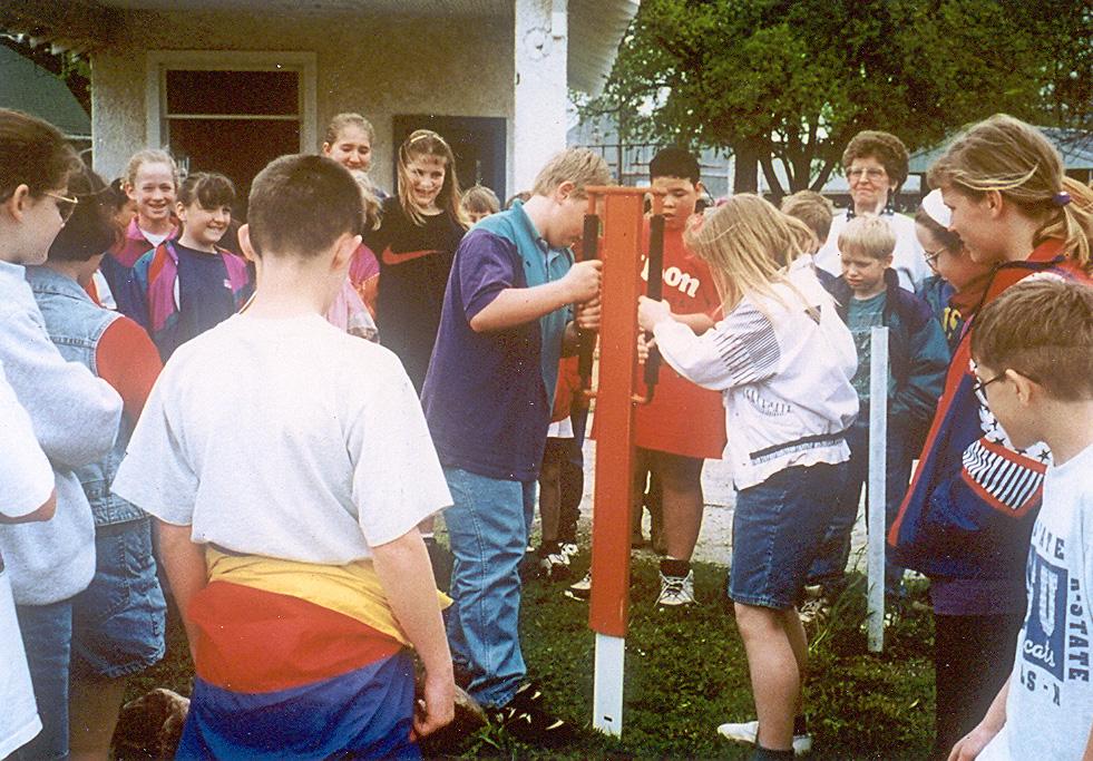 Bern town students place OCTA marker in Bern, Kansas.