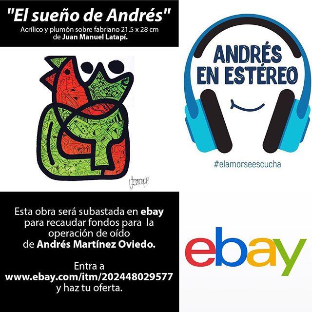 "¡ÚLTIMO DÍA"" Entra a la subasta por esta obra del artista @jm_latapi que con todo su corazón y talento está donando para que Andrés escuche en estéreo. 🎨💙🎧#elamorseescucha #subasta #ebay #microtia #atresia #microtiaatresia"