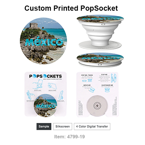 A PopSockets® sticks flat to the back of your phone, tablet or case with its rinsable, reposition-able gel. Once extended, the PopSockets® becomes a media stand for your device, a photo or texting grip, or lower it for a video chat. The possibilities are endless with PopSockets®, and with full color imprinting, so are the imprint possibilities. The back of anyone's phone is prime real estate for any promotion, and the best part is that PopSockets® can be used on almost any brand of phone or phone case. *For best results, use in conjunction with a phone case.