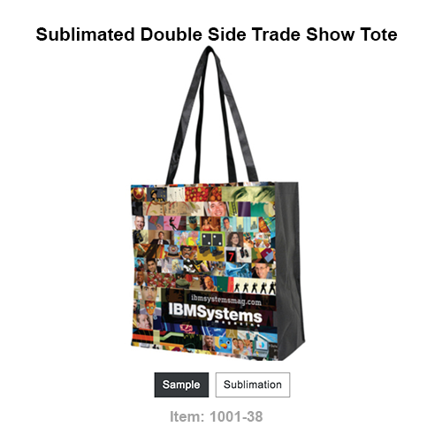 "This item features our innovative sublimation printing process that allows for  photo quality  design across the entire bag. You can either create your own design, or choose from our selection of stock patterns  The Full Color Sublimated Non-Woven Tote features long handles with large size, and a large 8"" gusset."