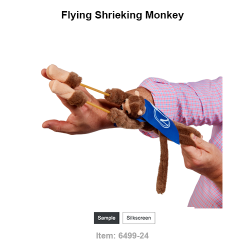 Why monkey around with boring promotions, when our Flying Shrieking Monkey will help your message soar?! Shoot it across the room and it screams back at you!