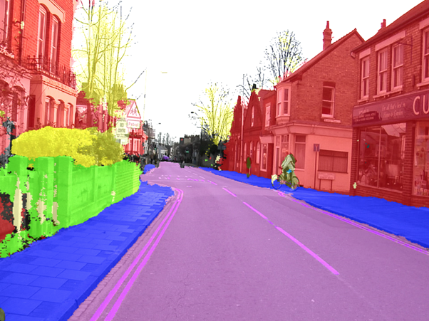 Output of a computer vision semantic segmentation model on a streetscape.