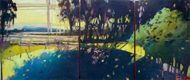 "Thirtyseven: four , oil on three panels 36"" x 84"""